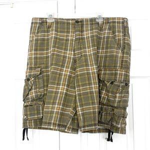 LEE Mens Green Plaid Cargo Shorts Sz 40